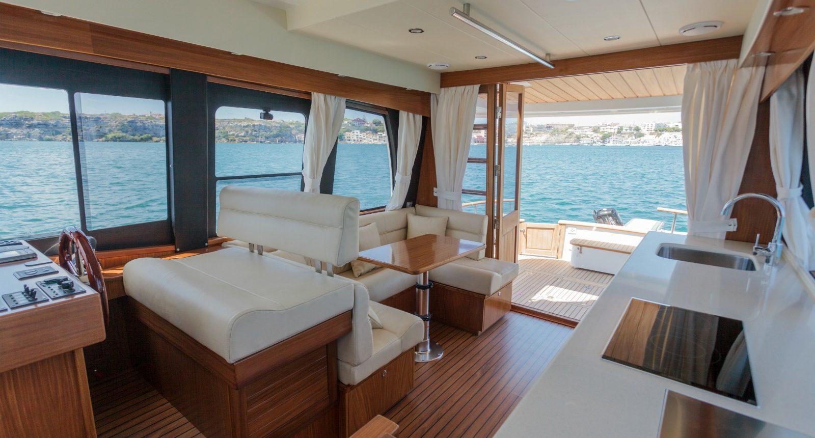 Islander 42 flybridge yacht for sale - salon and galley