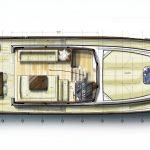 Minorca Islander 42 for sale - layout of main deck