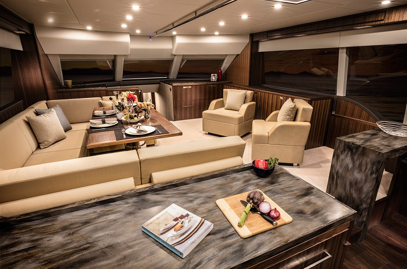Riviera 77 Enclosed Flybridge for sale - Salon