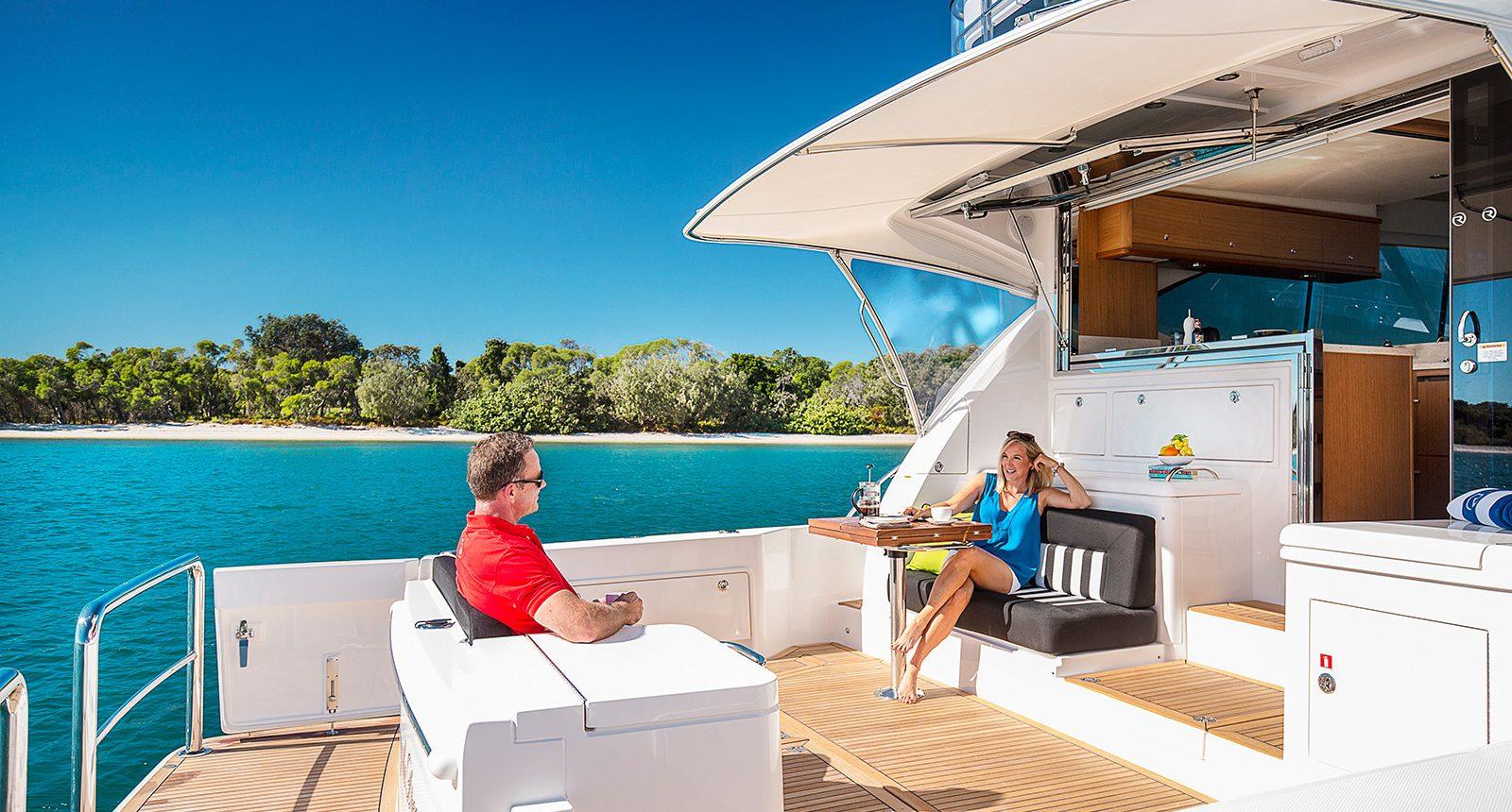 Riviera 52 enclosed flybridge for sale - aft deck