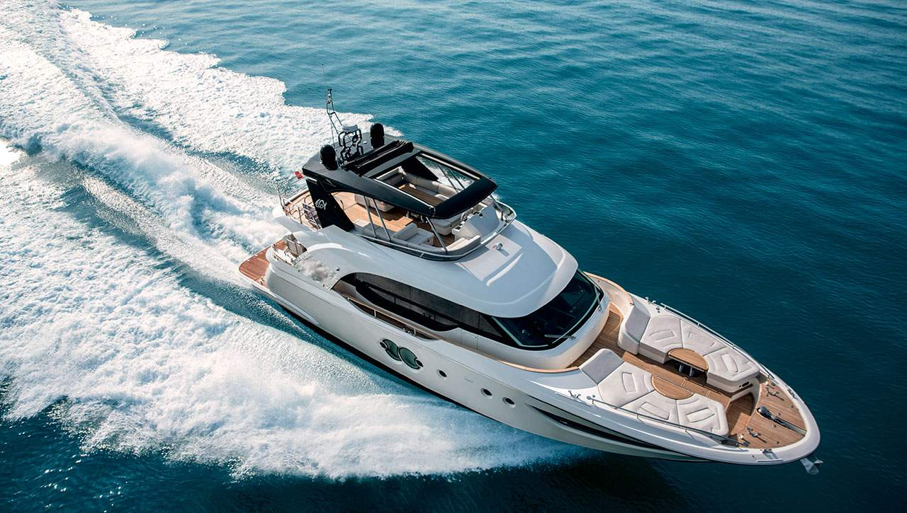 Monte Carlo Yachts MCY 70 aerial view