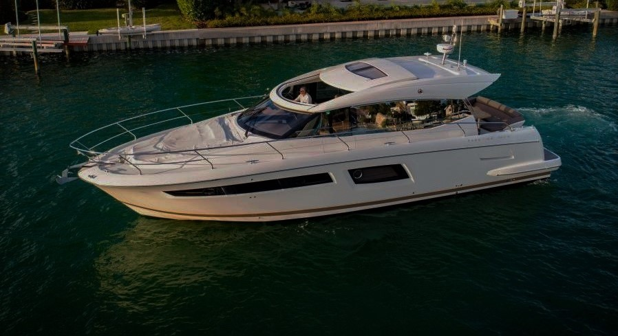 2014 Prestige 500 S on display at the 2018 Suncoast Boat Show in Sarasota