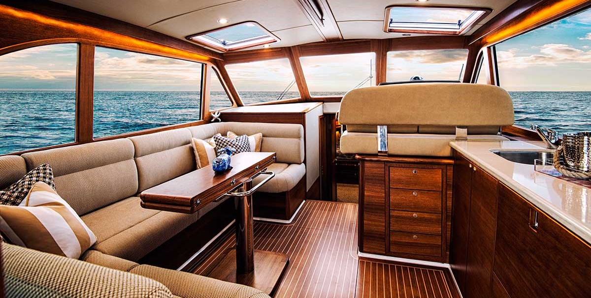 2018 Grand Banks 44 Eastbay Teak Interior Salon - Sold