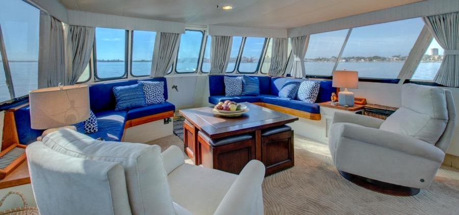 Spacious living areas on 64 Burger Motor Yacht - Great liveaboard yacht