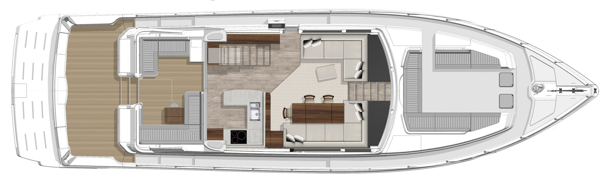 Riviera 64 Sports Motor Yacht layout - Main Salon Level